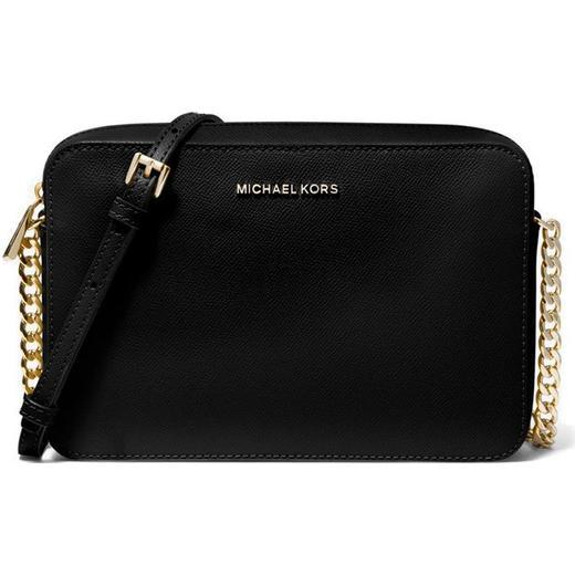 Michael Kors Jet Set Large Saffiano Leather Crossbody Bag Black Gold