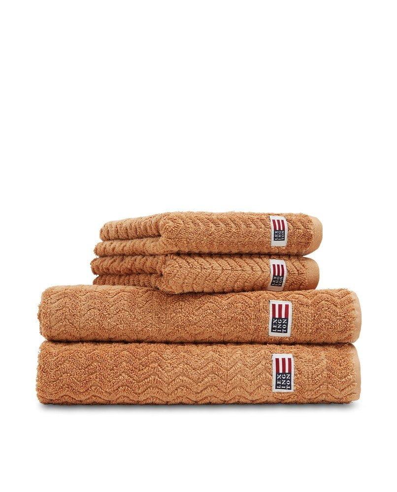 lexington handdukar structured terry towel caramel